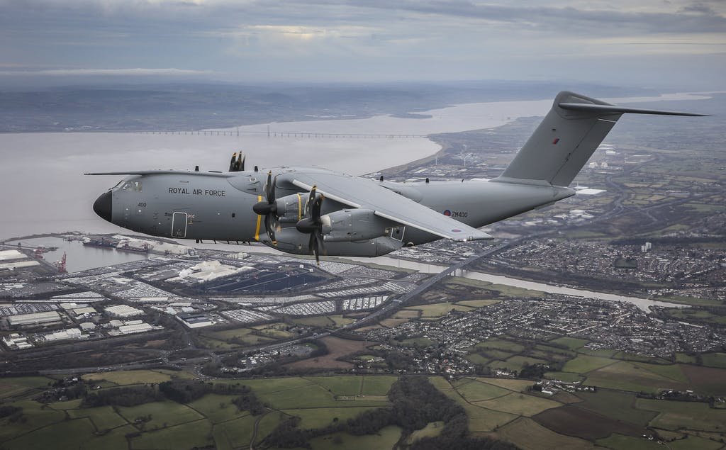 The UK's first A400M 'Atlas' seen here in flight over England.