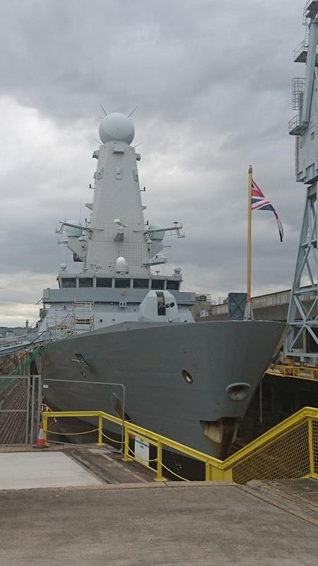 HMS Ducan in drydock this evening. Copyright UK Defence Journal 2016 via Marcus Cribb.