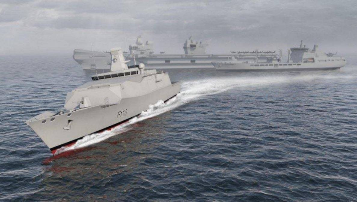 BMT's Venator-110 future frigate offering breaking away from a Tide class tanker and Queen Elizabeth class carrier.