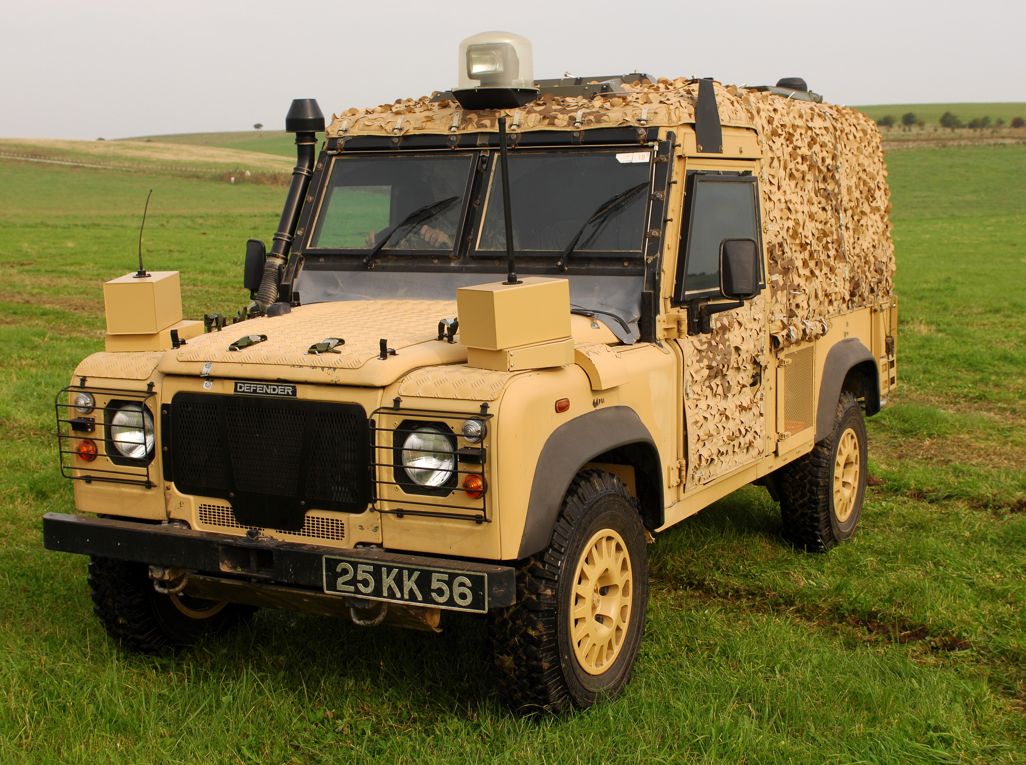 The Land Rover Snatch-Vixen vehicle on show at the Urgent Operational Requirement (UOR) Equipment Demonstration in Salisbury, Wiltshire.