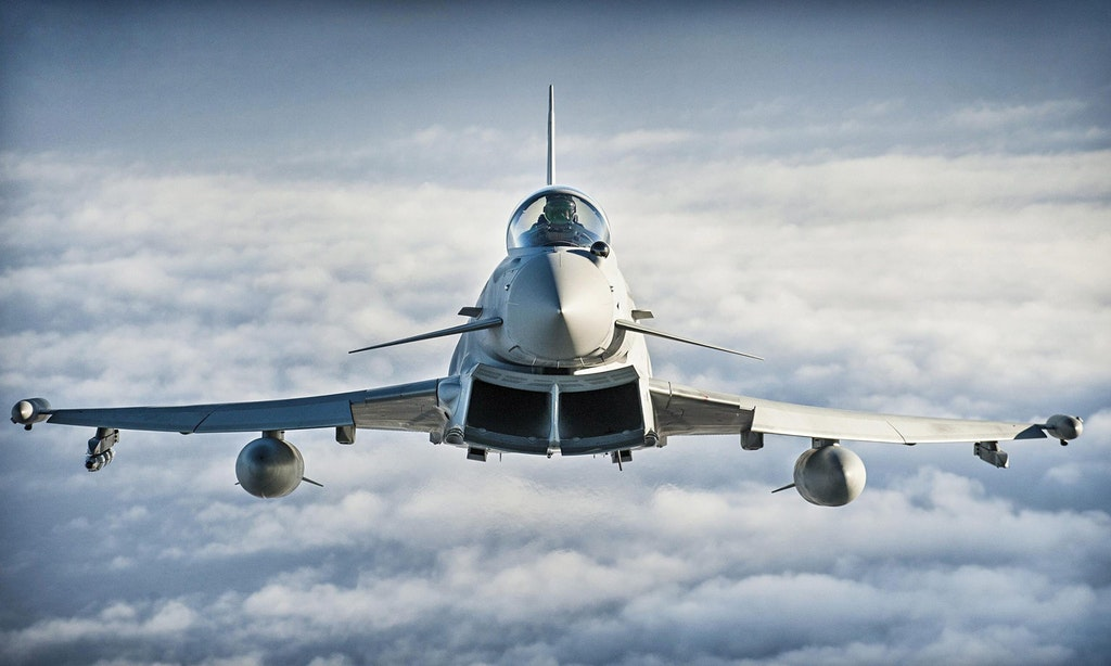 A British Typhoon in flight.