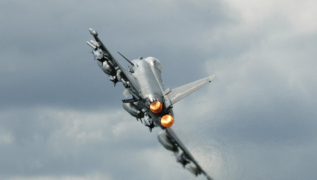A Typhoon scrambles to intercept an aircraft. (Credit: Vladimir Korolkov)