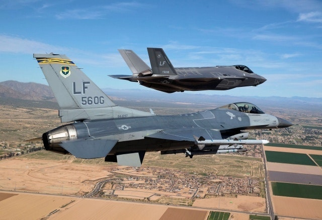 An F-16 flies with a F-35 'AF-2' during recent tests.