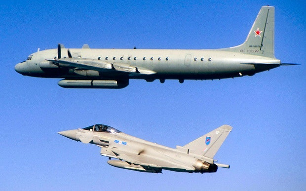 Typhoon alongside a Russian 'Coot' electronic intelligence gathering aircraft over the Baltic.
