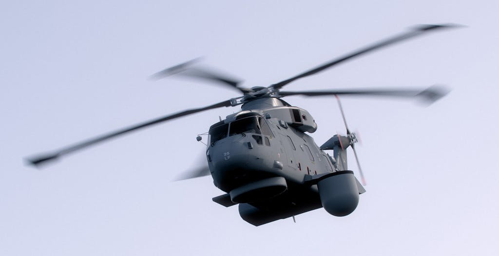 Computer-generated image of a Merlin Mk2 with Crowsnest fitted. Picture: Thales UK