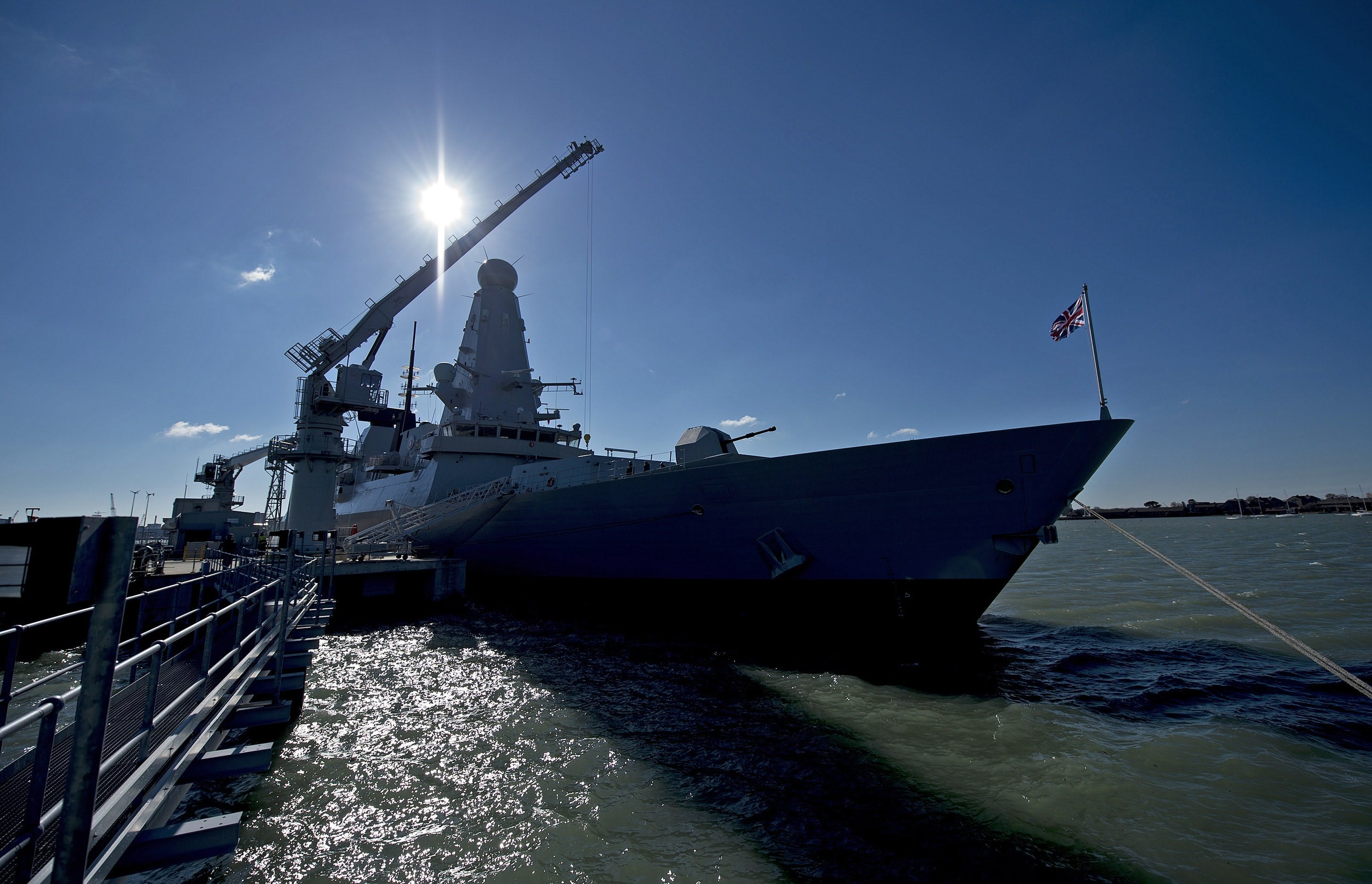 Type 45 HMS Diamond being loaded with Sea Viper missiles at HMNB Portsmouth