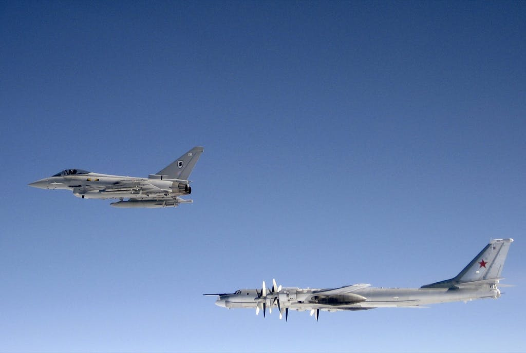 A British Typhoon intercepts a Russian bomber near Scotland