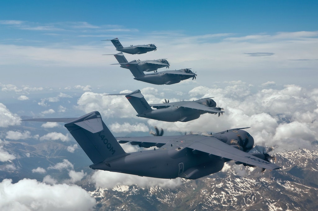 A400M Atlas aircraft in formation over Spain.