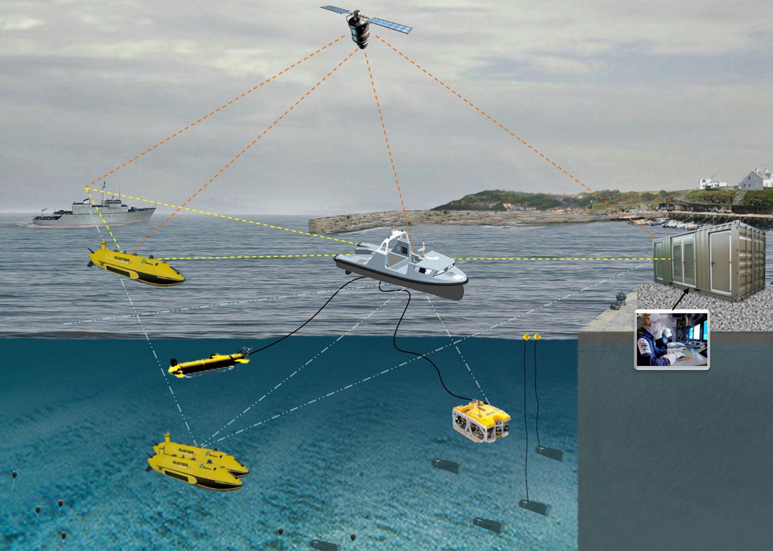 Infographic shows Halcyon, a small Unmanned Surface Vehicle (USV) – just 12 metres long and 3.5 metres wide – and the sonar it tows is Thales's state-of-the-art Towed Synthetic Aperture Sonar (T-SAS). As part of the MMCM programme, Thales is providing systems to both the French Navy and Royal Navy for two years of evaluation testing. Each system will comprise a USV (Unmanned Surface Vehicle) equipped with an autonomous navigation system, an obstacle detection and avoidance sonar, a threat identification and neutralisation capability based on ROVs (Remotely Operated Vehicles), a T-SAS (Towed Synthetic Aperture Sonar) and AUVs (Autonomous Underwater Vehicles). The geolocated AUVs will use the latest-generation synthetic aperture sonar SAMDIS with multi-aspect functionality for improved classification. They will perform their tasks autonomously with control from a host ship or shore-based station via high-data-rate communication links. The systems, meeting the operational requirements of both nations, incorporate state-of-the-art technologies including very high-resolution multiview imaging sonars and sophisticated analysis tools to provide unparalleled levels of performance in automatic threat recognition and classification. Copyright Thales 2016.