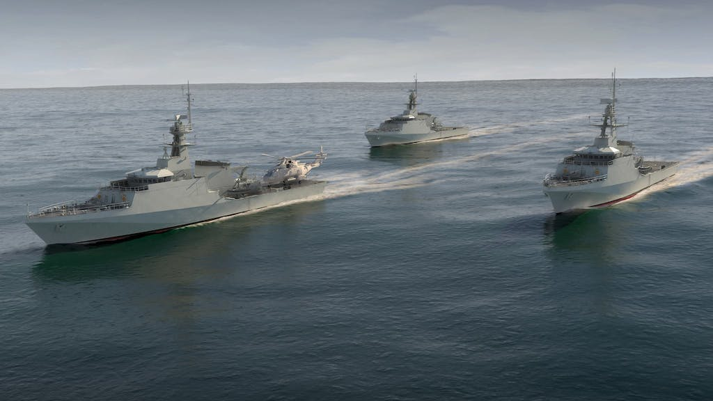 An artists impression of HMS Forth, Medway and Trent sailing together