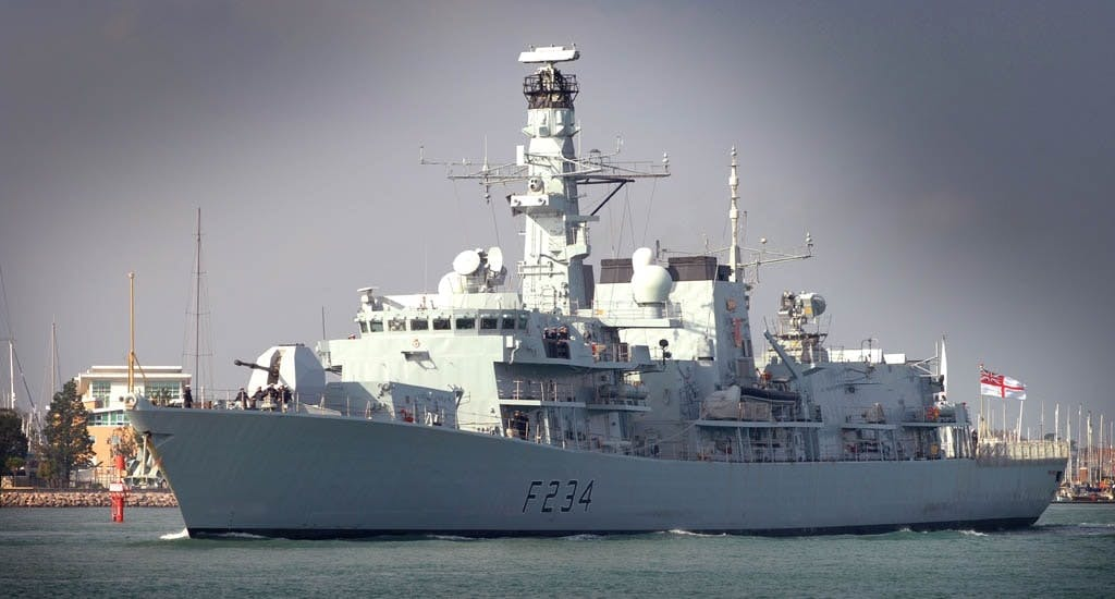 HMS Iron Duke fitted with Artisan, the first of the Type 23's to receive the RADAR