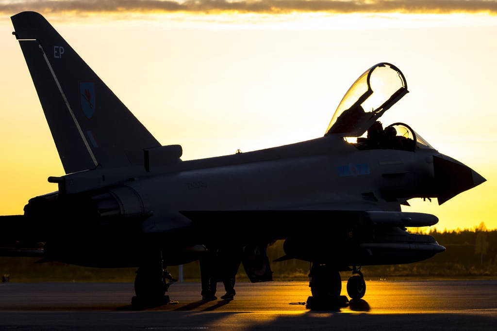 A Typhoon jet from 6 Squadron Royal Air Force, following an evening Baltic Air Patrol  (BAP) in Estonia. The Typhoon FGR4 provides the RAF with a highly capable and extremely agile multi-role combat aircraft, capable of being deployed in the full spectrum of air operations, including air policing, peace support and high intensity conflict.