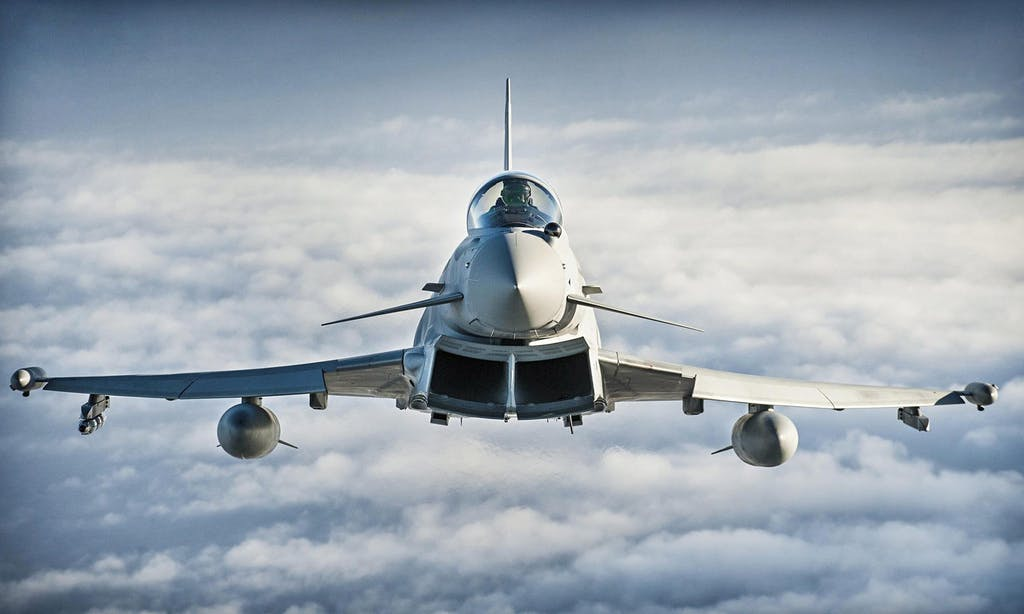 A British Typhoon in flight.