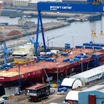 The Queen Elizabeth takes shape at Rosyth
