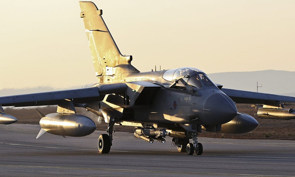 A Tornado GR4, currently the UK's primary strike aircraft.