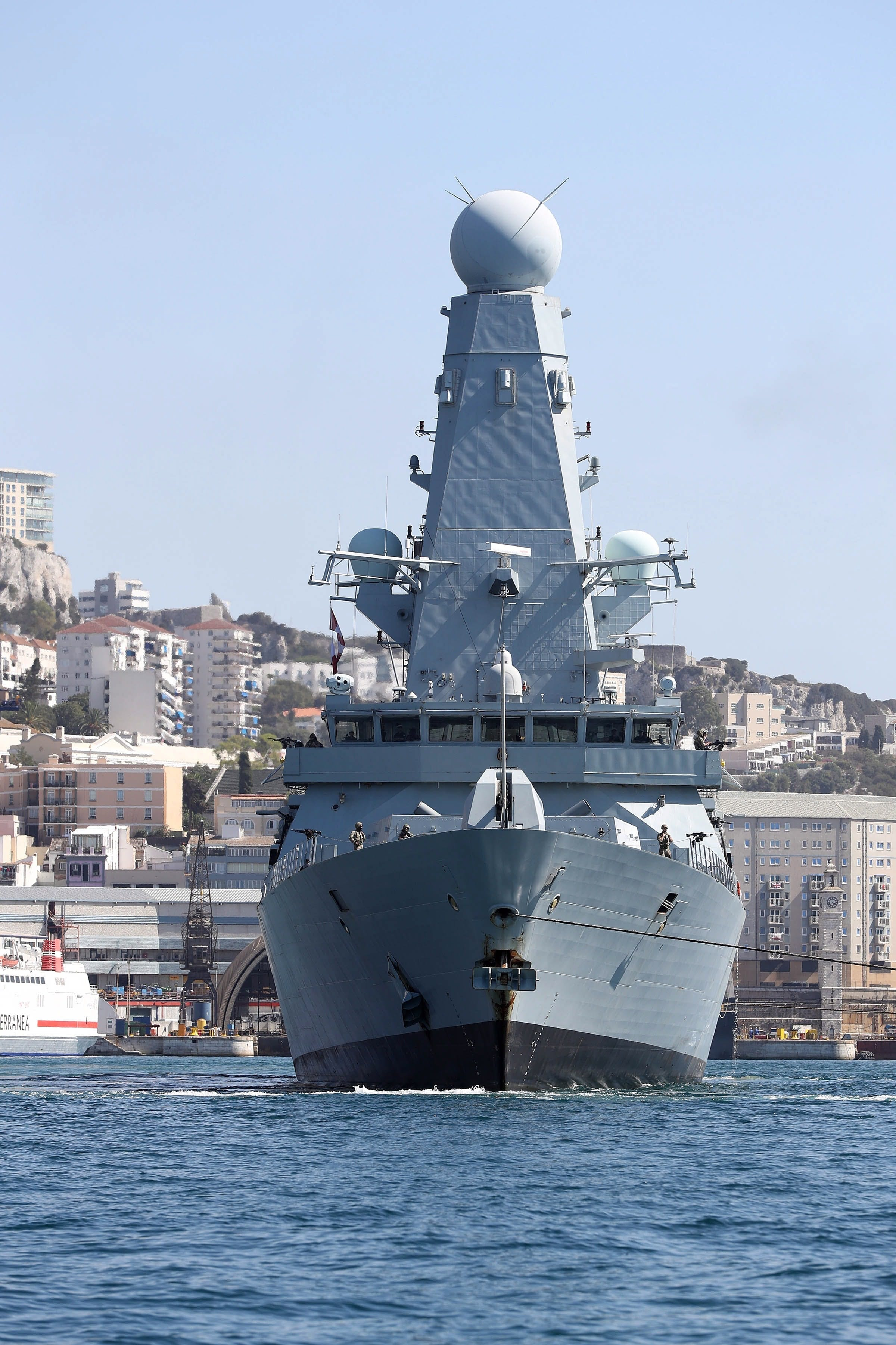HMS Daring reappears in the shadow of the Rock  four years after her first visit to Gibraltar