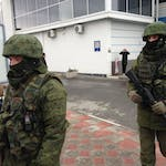 Masked Soldiers in front of airport