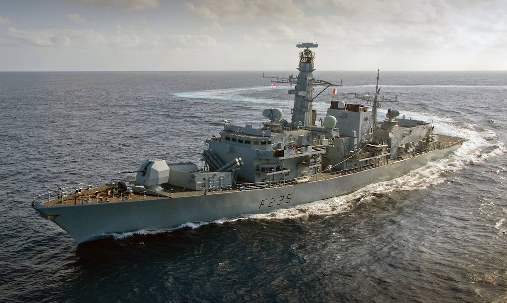 HMS Monmouth, the 'Black Duke', as she sails to the Middle East in 2011.