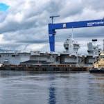 HMS QNLZ exits No 1 Dock