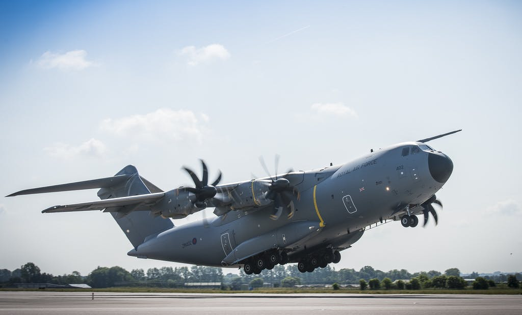 A400M Takes off from RAF Brize Norton.