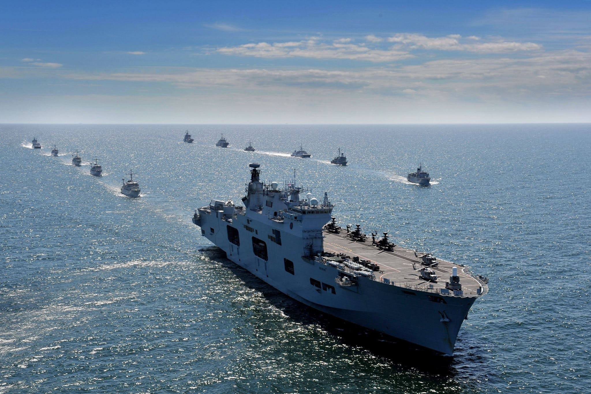 HMS Ocean leads a fleet of allied warships through the Baltic. LA(Phot) Luron Wright.