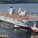 HMS Queen Elizabeth floats for the first time, Britain, July 2014