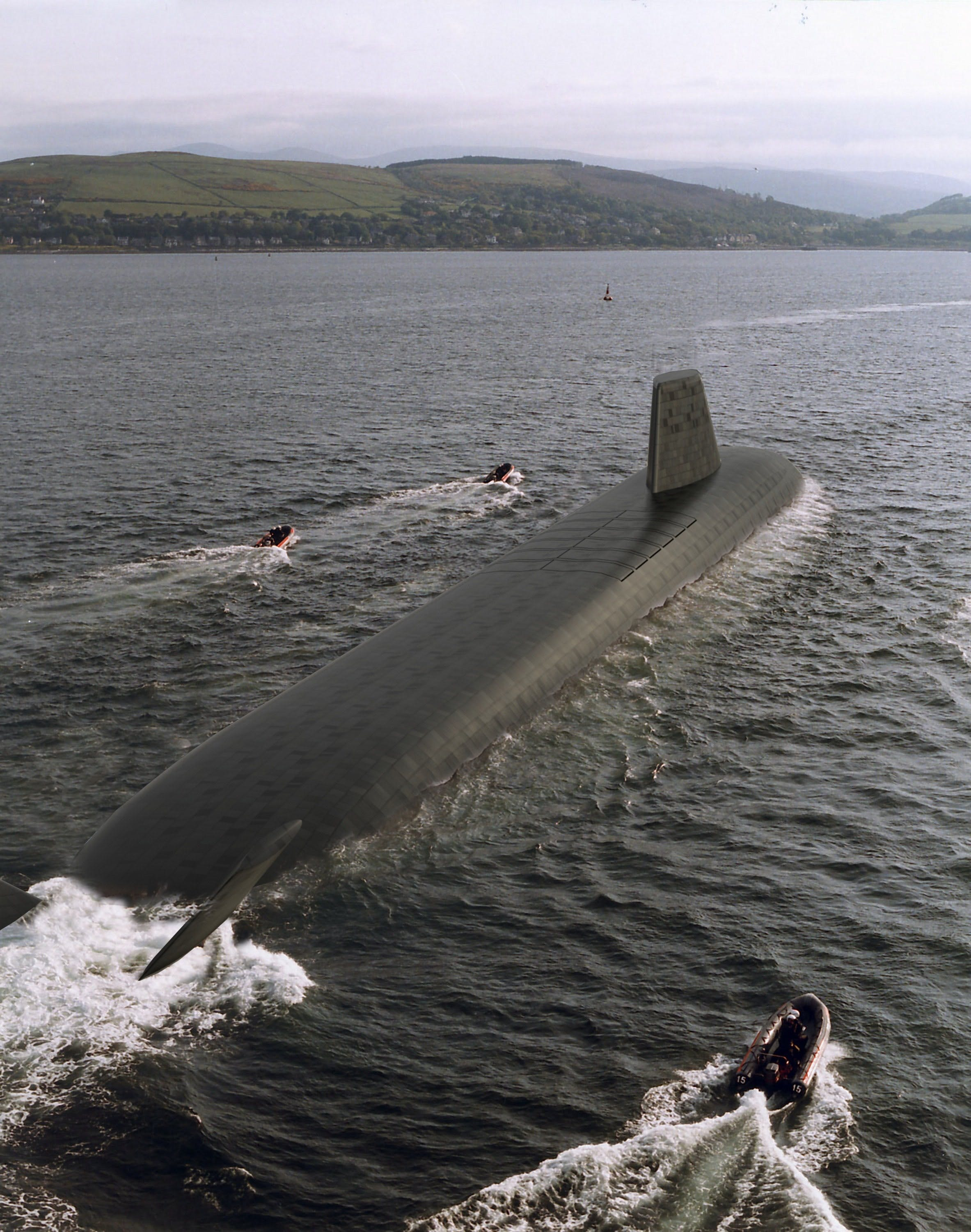 This Trident Submarine is a Nuclear powered vessel contributing to NATO's nuclear deterrent. It is an advanced, high speed, long endurance underwater sub. These displace over 16 thousand tonnes and offer spacious accommodation on three decks. These carry