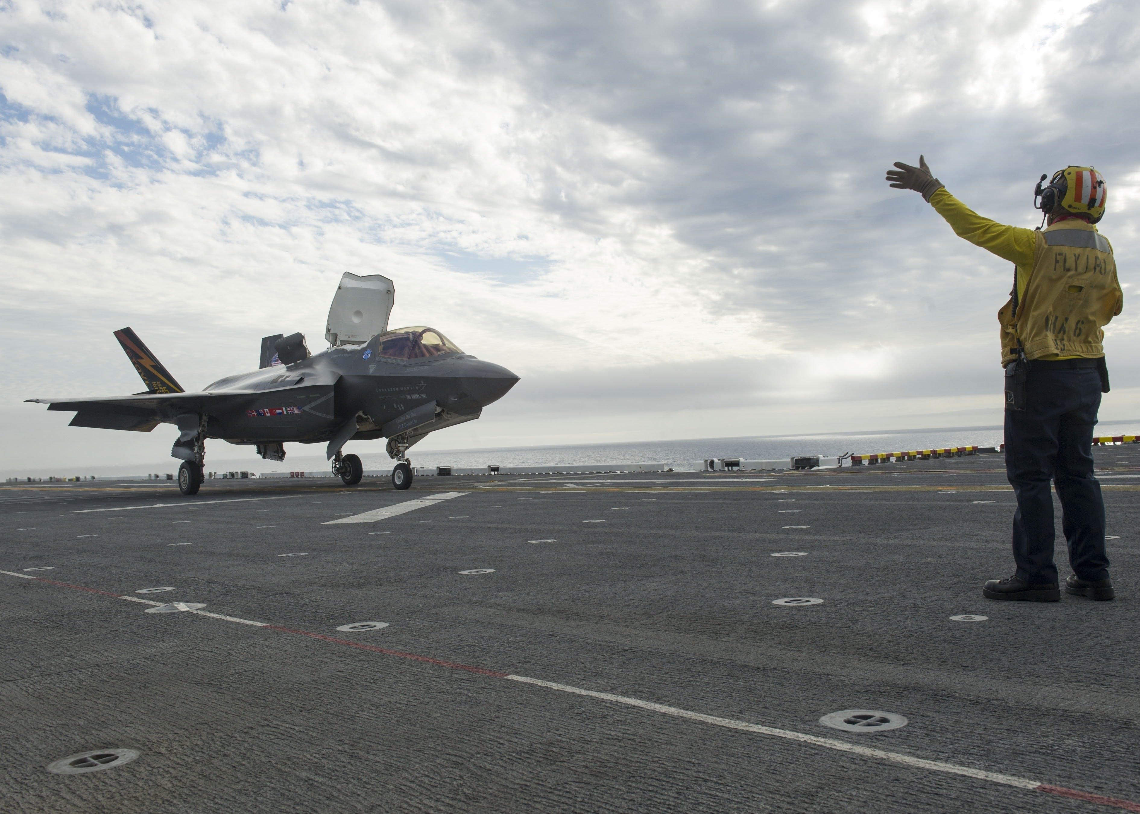 British pilots in F-35B trials at sea