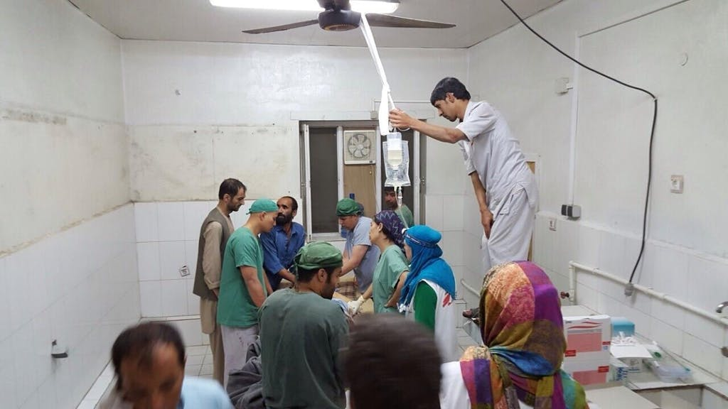 Makeshift Operating Theatre in MSF Kunduz Clinice after attack. Courtesy of MSF