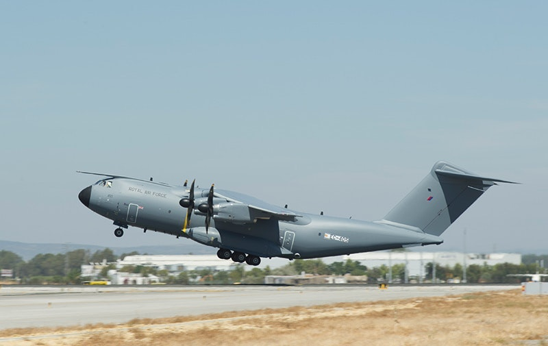 The RAF's first Atlas seen here taking off for the first time in August at Seville.