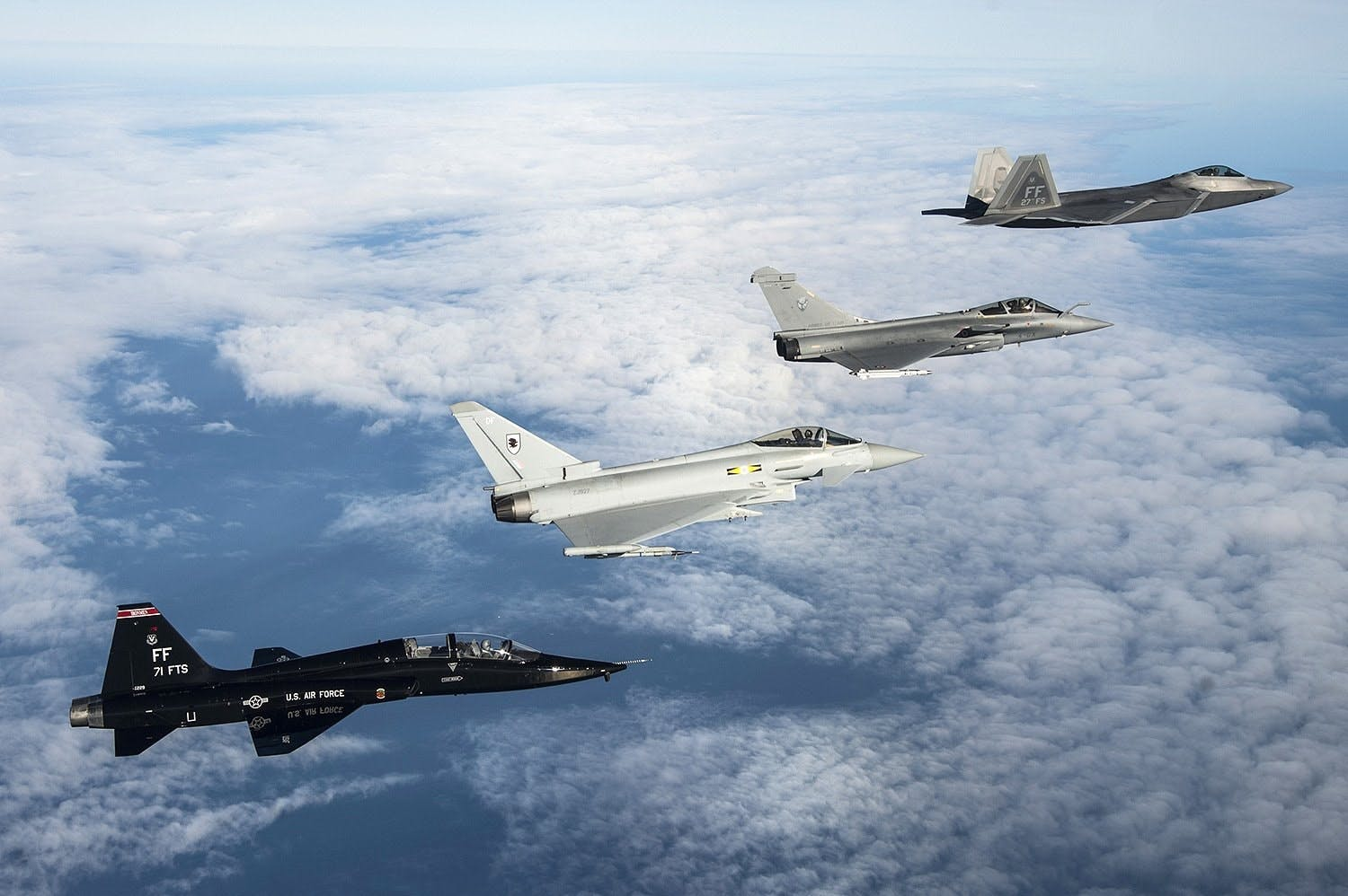 F-35, F-22, Typhoon and Rafale jets meet for Exercise Atlantic Trident