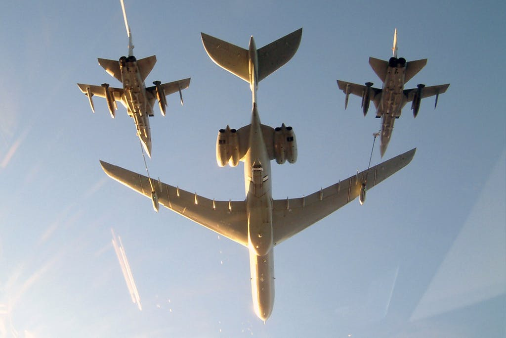 A Royal Air Force VC10,  in the tanker role, carries out the air-to-air refueling of a two RAF Tornado F3s.