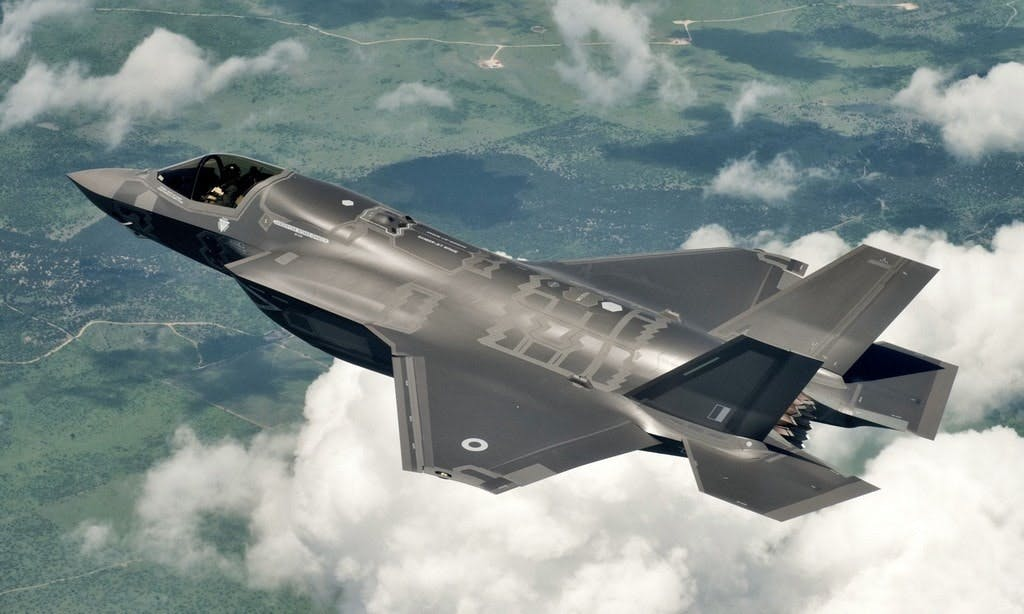 A British F-35B in flight in the US