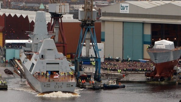 A Type 45 destroyer is launched in Glasgow.