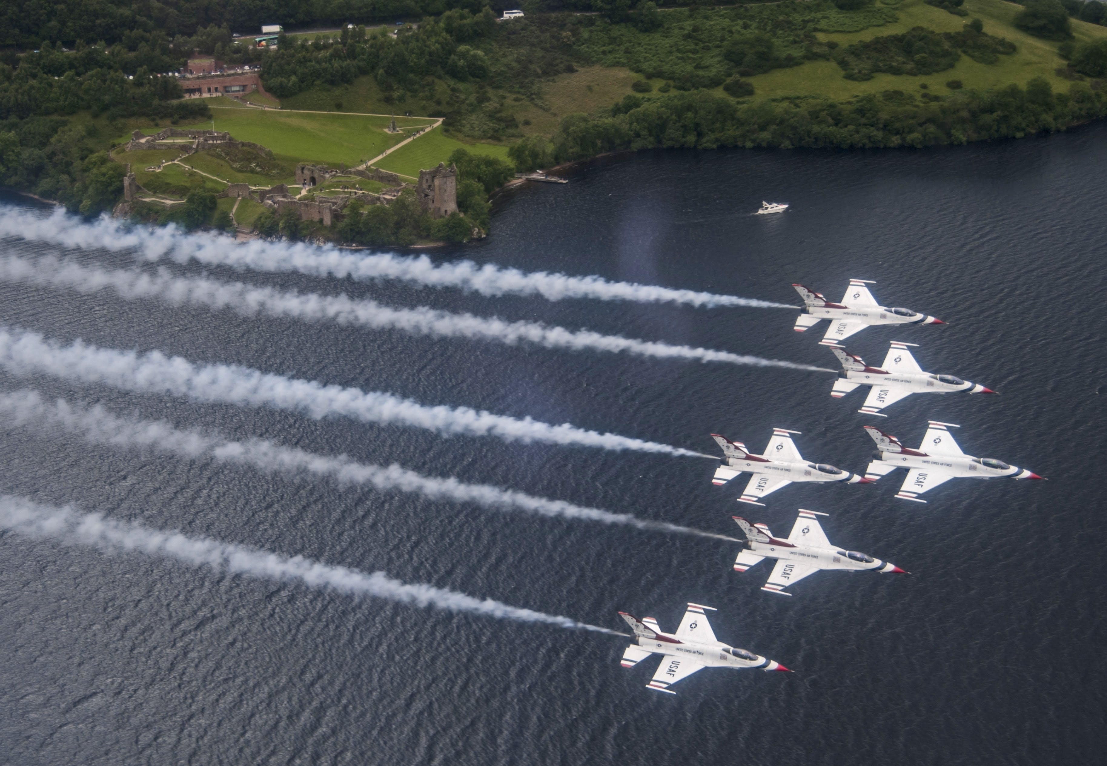 Thunderbirds take to the skies of England and Scotland in preparation for the Royal International Air Tattoo