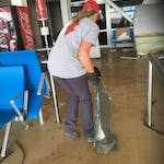 Team Rubicon UK's Lizzy Stileman at work clearing the airport on Beef Island