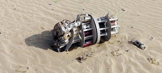 An unexploded BL-755 found in northern Yemen. Photo: Amnesty International