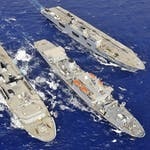 HMS Albion, RFA Fort Rosalie and HMS Ocean Conduct a Replenishment at Sea During Ex Cypriot Lion