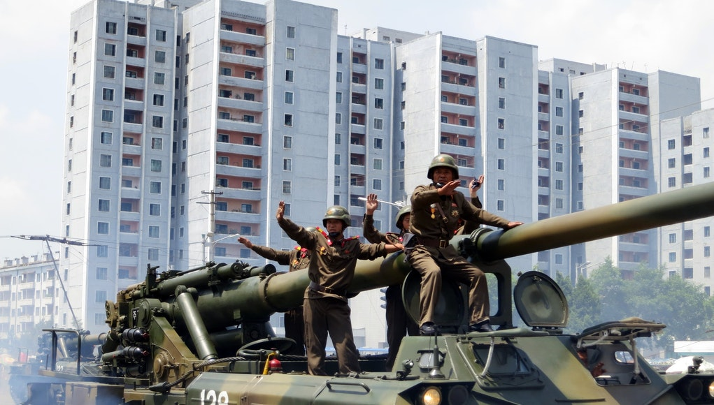 North Korean Troops parading on Victory Day