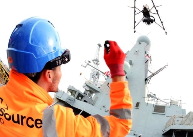 The drone was trialled with HMS Diamond in Portsmouth